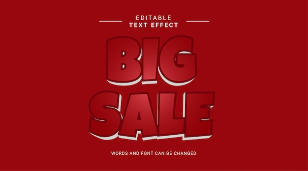 Editable text effect modern bold style big sale red white color