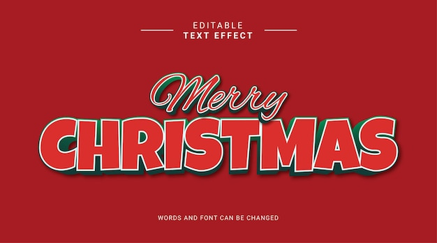Editable text effect modern bold style merry christmas red green color