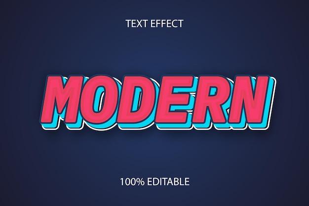 Редактируемый текстовый эффект современный цвет синий красный