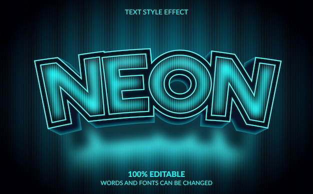 Editable text effect, modern neon text style