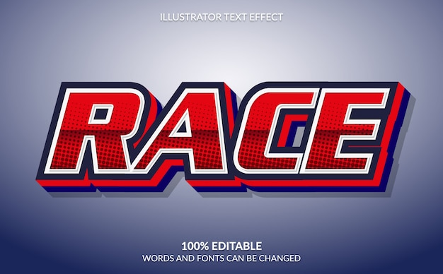 Editable text effect, modern and professional auto racing text style