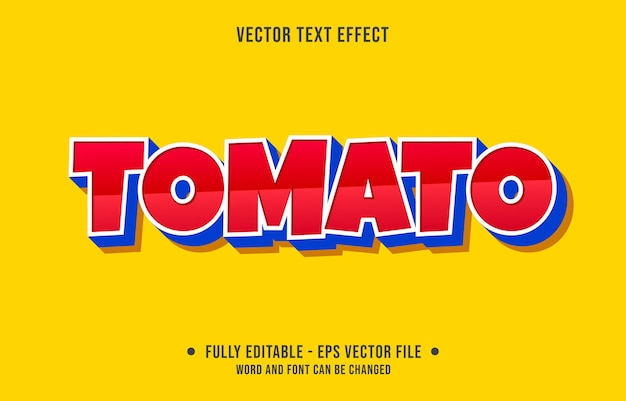 Editable text effect modern red tomato style