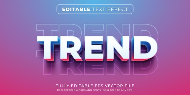 Editable text effect in modern trend style