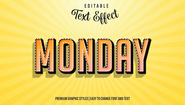 Editable text effect, monday strong bold font style
