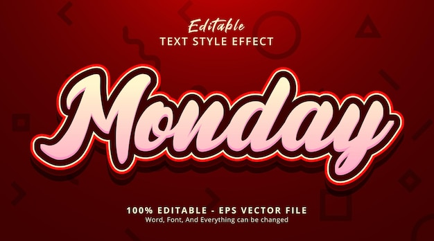 Редактируемый текстовый эффект, текст понедельника в стиле комбинации красного цвета
