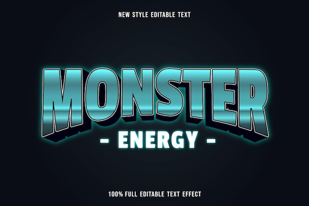 Editable text effect monster energy color green white and black