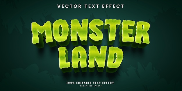 Editable text effect in monster land cartoon style premium vector