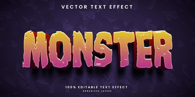 Editable text effect in monster style premium vector