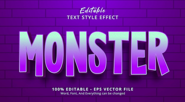 Editable text effect, monster text on neon color style effect