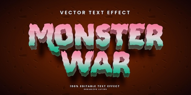 Editable text effect in monster war style premium vector