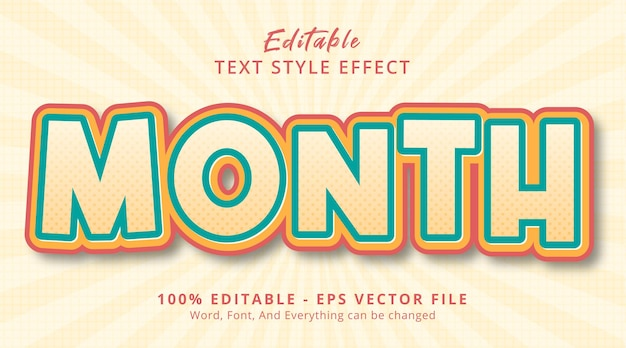 Editable text effect, month text on fancy color poster headline style