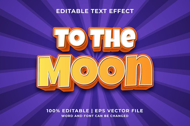 Editable text effect -to the moon cartoon template style premium vector
