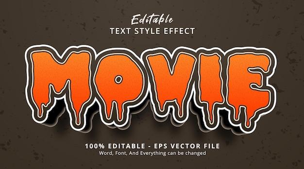 Editable text effect, movie text on horror cartoon headline style