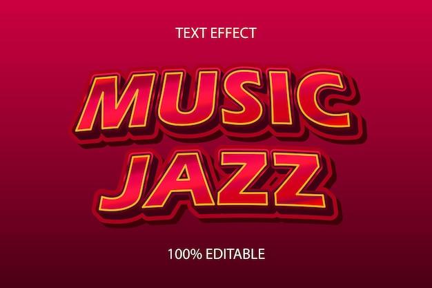 Редактируемый текстовый эффект музыка джаз цвет красный