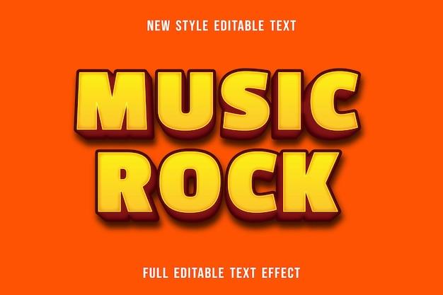 편집 가능한 텍스트 효과 음악 록 색상 노란색과 주황색