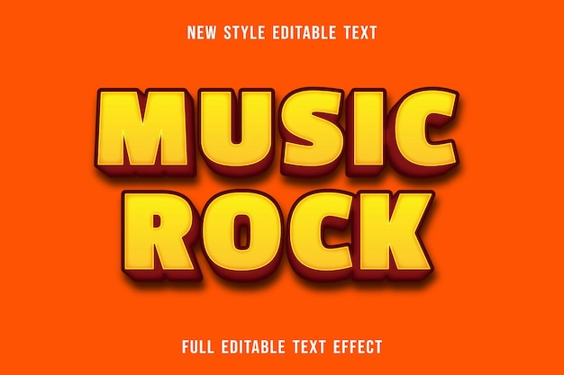 Editable text effect music rock color yellow and orange