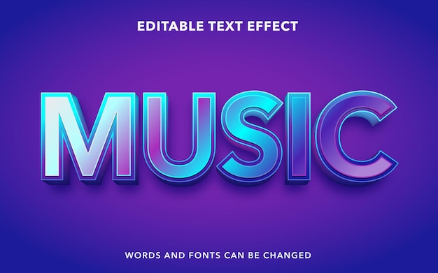 Editable text effect for music