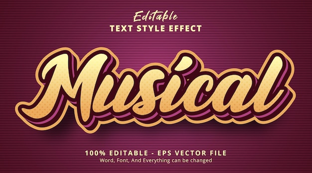 Editable text effect musical text with layered color combination style