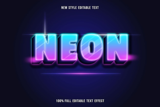 Editable text effect neon color blue and pink