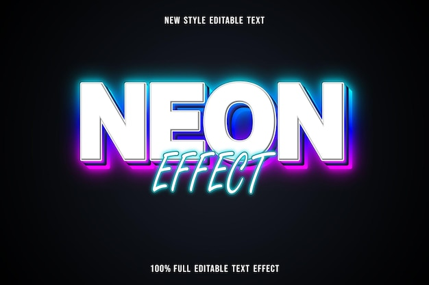 Editable text effect neon effect in white blue green and pink