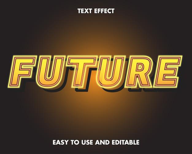 Редактируемый текстовый эффект - неоновое слово будущего. легко использовать и редактировать. премиум векторные иллюстрации