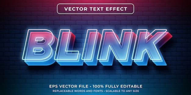 Editable text effect - neon glowing lights style