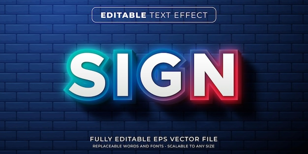 Editable text effect in neon gradient glowing sign style