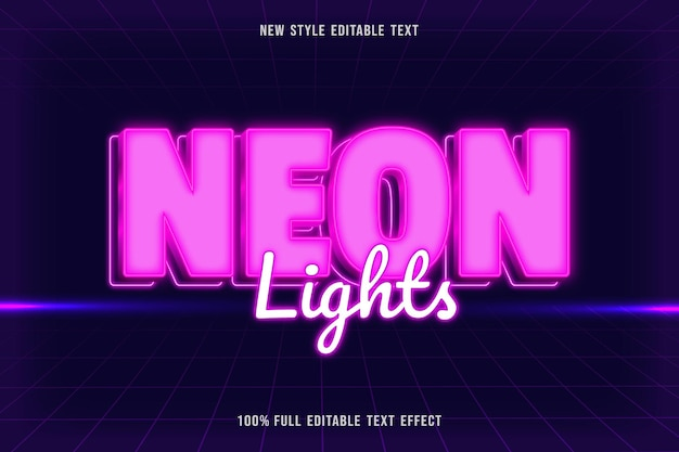 편집 가능한 텍스트 효과 네온 불빛 색상 분홍색과 흰색