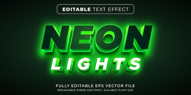 Editable text effect in neon lights style