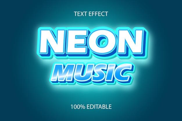 Редактируемый текстовый эффект неоновая музыка цвет синий тоска
