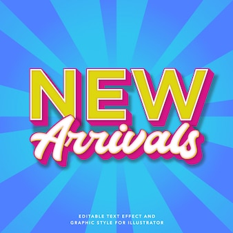 Editable text effect for new arrivals sale label