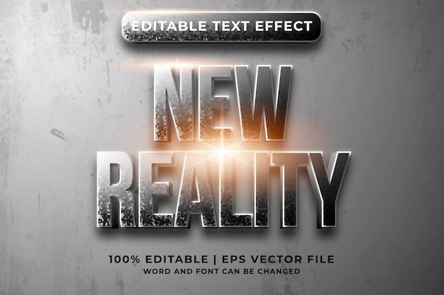 편집 가능한 텍스트 효과 - 새로운 현실 템플릿 스타일 프리미엄 벡터