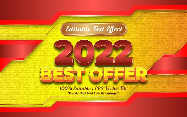 Editable text effect new year 2022 best offer template style