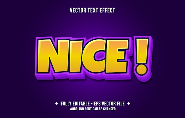 Editable text effect nice bold yellow and purple modern style
