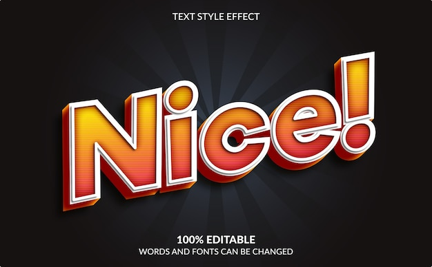 Editable text effect, nice, cartoon and comic text style