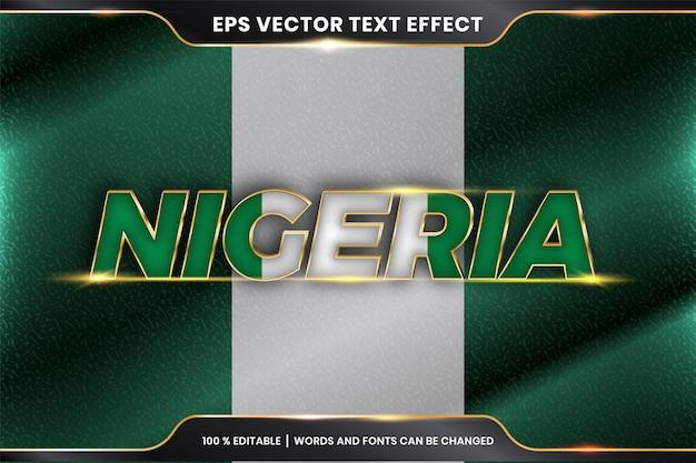 Редактируемый текстовый эффект - нигерия с национальным флагом страны