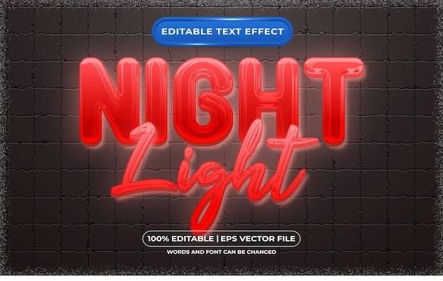 Редактируемый текстовый эффект в стиле ночного света