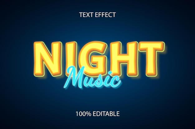 Редактируемый текстовый эффект ночь цвет музыки синий желтый