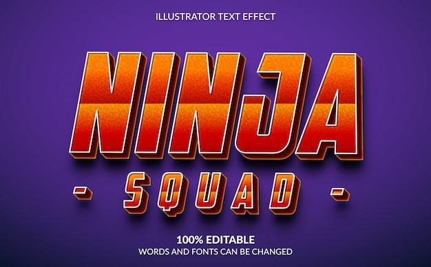 편집 가능한 텍스트 효과, Ninja Squad Text Style 프리미엄 벡터