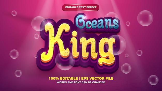 Editable text effect - oceans king cartoon style 3d template on deep sea background