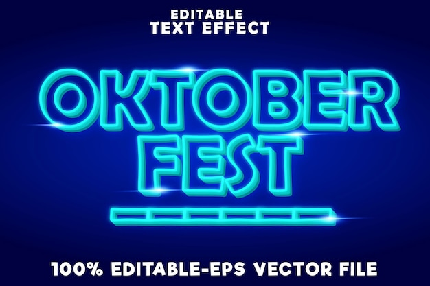 Editable text effect october fest with new neon style
