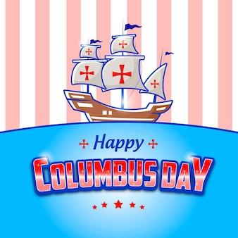 해피 콜럼버스 데이의 편집 가능한 텍스트 효과