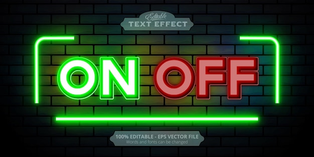Editable text effect, on and off text