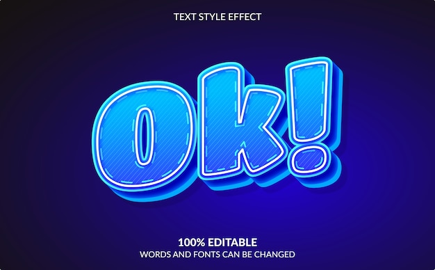 Editable text effect, ok, comic and cartoon text style