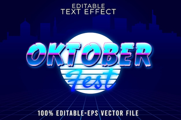 Editable text effect oktoberfest with new retro 80's galaxy style