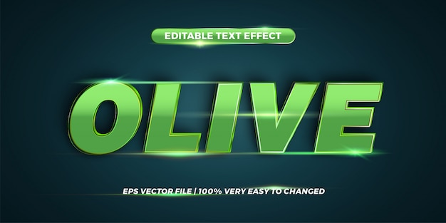 Editable text effect - olive text style  concept