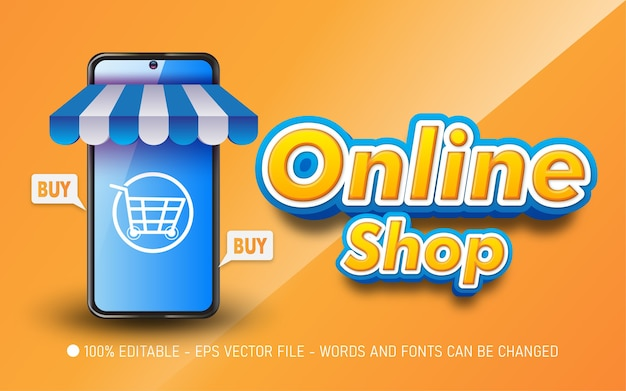 Editable text effect, online shop style illustrations
