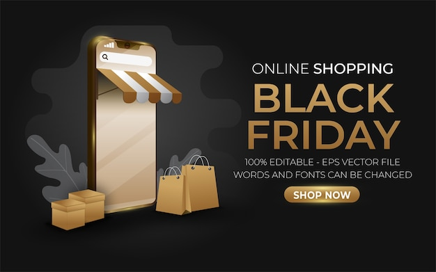 Editable text effect, online shopping style illustrations