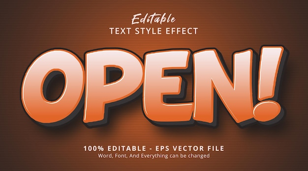 Editable text effect, open text on simple gradient style effect