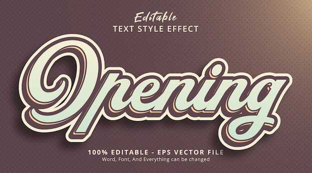 Editable text effect, opening text on poster style effect